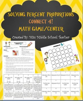 Percent Proportions Game Math Center By Miss Middle School Teacher