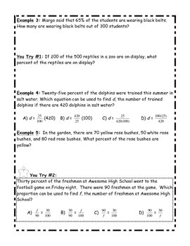 Percent Proportions Guided/Scaffolded Student Notes with Answer Key