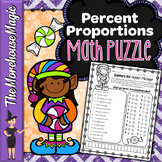 PERCENT PROPORTIONS COMMON CORE MATH PUZZLE, HOLIDAY MATH