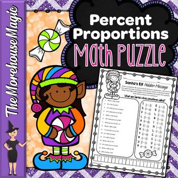 Percent Proportions Math Puzzle - Santa's Elf!