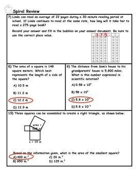 Percent Proportions Word Problem Practice PLUS Spiral Review