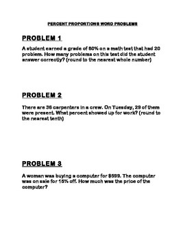 Percent Proportions Word Problems