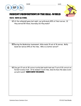 Percent Proportions in the Real-World Notes & Worksheet