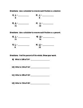 Percents, Decimals, Fractions Quiz