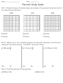 Percent Quiz/Test and Study Guide