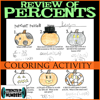 Percent Review Halloween Jack-O-Lantern Coloring Activity Interactive Notebook