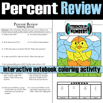 Percent Review Interactive Notebook Easter Chick Coloring Activity