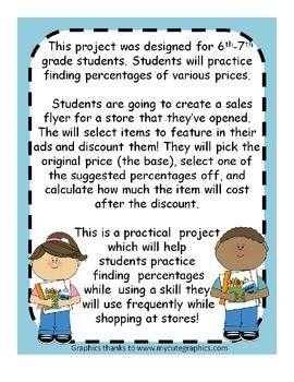 Percent Sales Flyer Project - Practice Finding Percentages