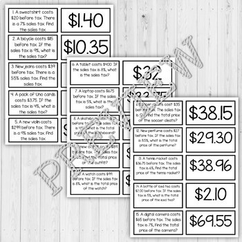 Percent Sales Tax Matching Game Task Cards