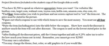 Percent Shopping Spree (Discount and Tax) Google Slides Project