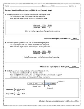 Percent Story Problems 6.RP.A.3.c Version A