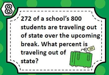 Percent Task Card Set - Great unit or STAAR Review