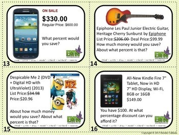 Percents Task Cards Activity with Real Life Ads and Prices