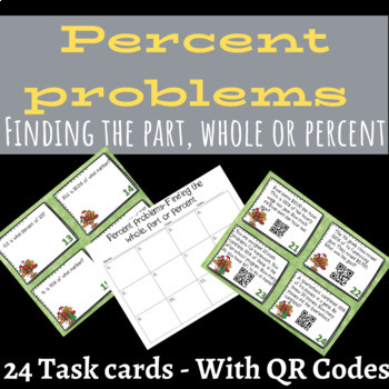 Christmas Finding the part, whole or percent Task Cards