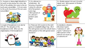 Percent Task Cards Middle Grades Math