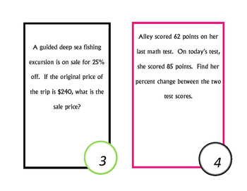 Percent Task Cards~ Real World word Problems