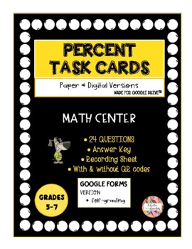 Percent Task Cards with QR Codes