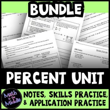 Percent Unit Bundle: Notes, Practice, & Application Practice
