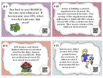 Percent Word Problem Task Cards