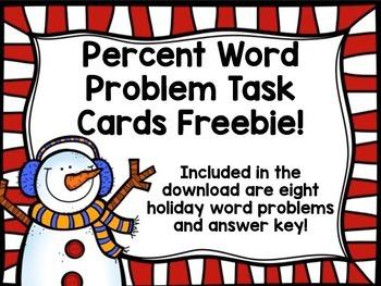 Percent Word Problem Task Cards FREEBIE