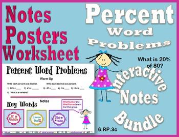 Percent Word Problems Interactive Notes Bundle