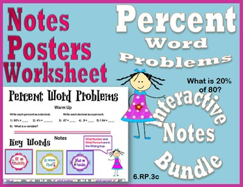 Percent Word Problems Interactive Notes Bundle