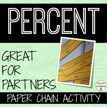 Percent Word Problems Paper Chain Activity