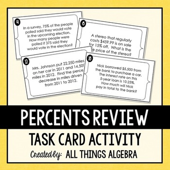 percent word problems task cards by all things algebra tpt. Black Bedroom Furniture Sets. Home Design Ideas