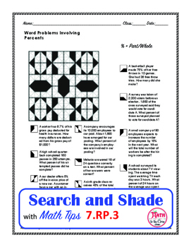 Percent Word Problems Search and Shade 7.RP.A.3