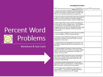 Percent Word Problems Worksheet 1 - Practice, Assessment TASK CARDS