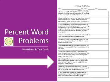 Percent Word Problems Worksheet 1 - Practice, Assessment TASK CARDS