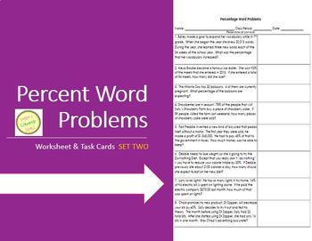Percent Word Problems Worksheet 2 - Practice, Assessment TASK CARDS