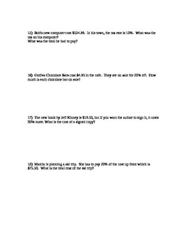 Percent Word Problems- differentiated