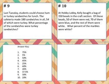 Percent Word Problems (multi-step problems) Task Cards