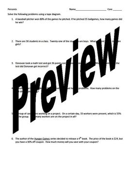 Percent Word Problems with Tape Diagrams Worksheet