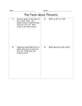 Percent Worksheet!