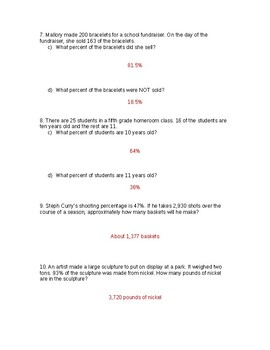 Percent Worksheet