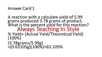 Percent Yield Video Worksheet and Task Cards