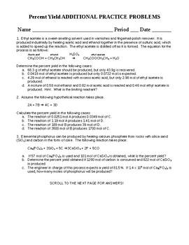 Percent Yield Worksheet by Chem Queen   Teachers Pay Teachers