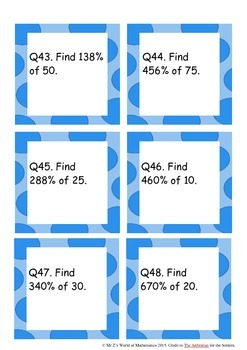 Percentages activities task cards and word problems