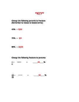 Percent and Fractions Worksheet