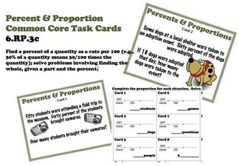 Percent and Proportion Common Core Task Cards 6.RP.3