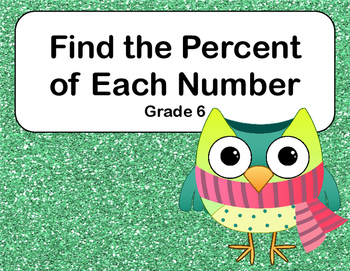 Percent and Rounding-CCSS.6.RP.A.3.C-Grade 6-48 Math Task Cards-Owls