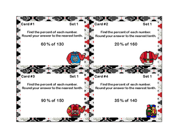 Percent and Rounding-CCSS.6.RP.A.3.C-Grade 6-48 Math Task Cards-Ugly Sweater