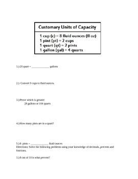 Percent and Unit Conversions Test