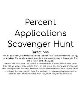 Percent applications scavenger hunt