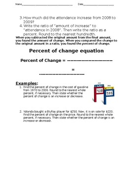Percent of Change Guided Notes- **EDITABLE**