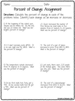 Percent of Change Lesson - Guided Notes, Error Analysis, and Assignment