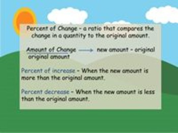 Percent of Change - Notes, Examples, Independent Practice, Writing Activity