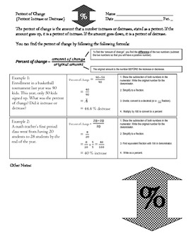 Percent of Change: Percent Increase and Decrease Notes and Practice